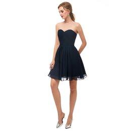 Темно-Синий Короткие Милая Платья Партии Реальное Изображение Homecoming Платье Молния Назад Длина До Колен 2018 Новый Простой Маленькое Платье