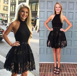 $enCountryForm.capitalKeyWord NZ - Sexy Lace Short Mini Little Black Cocktail Party Dresses 2018 Halter Neck Beaded Sash Sleeveless Homecoming Dresses Cheap