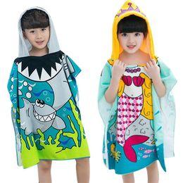 31d2c26ea6 JOCESTYLE Baby Children Hooded Bath Towel Soft Polyester Shark Pattern  Beach Towel Baby Girls Boys Cartoon Bath For kids