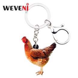 Discount chicken handbag - WEVENI Statement Acrylic Farm Chicken Hen Key Chains Keychains Ring Fowl Animal Jewelry For Women Girls Handbag Charms W