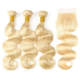 Discount brazilian platinum blonde hair extensions - Brazilian Platinum Blonde Hair Weave With Lace Closure Body Wave Lace Closure With Bundles #613 Hair Extensions With Lac