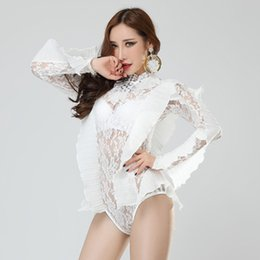 $enCountryForm.capitalKeyWord Canada - Novelty White Lace sexy bodysuit female Perspective Costume Bar DJ DS performance clothes Singer dancer Stage wears Elastic Slim Catsuit