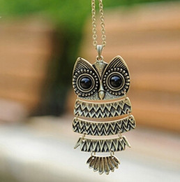 Owl Chain Australia - Retro Jewelry Vintage Ancient Bronze Big Eyes Owl Necklace Kitty Cat Pendant Statement Long Chain Choker Gift