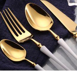$enCountryForm.capitalKeyWord NZ - High-grade Gold Cutlery Flatware Set Spoon Fork Knife Tea Spoon Stainless Steel Dinnerware Set Luxury Cutlery Tableware Set wn585 50set
