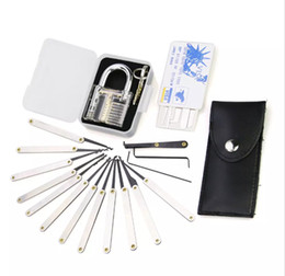 Wholesale Hot Transparent Practice pin Lock Padlock set Lock picks Tools locksmith credit card lock pick set