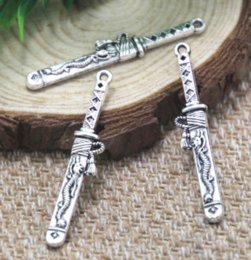 Knife charms online shopping - 15pcs dagger Charms silver tone knife sword Charms connector x8mm