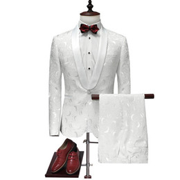 $enCountryForm.capitalKeyWord Canada - 2018 New Brand Men's Suits 2 Pieces Jacket+Pants Solid White Suit Wedding Groom Dress Party Clothing Luxury Slim Fit for youth