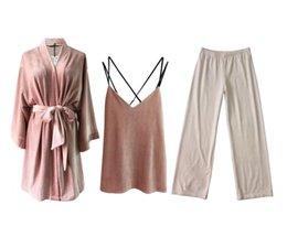 e19ae39b64 2019 New Fashion Autumn Winter Women s Corduroy Pajama Sets Leisure Lace  Velvet Sleepwear Pant Suit Thicken Warm Home Nightwear