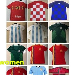 3cc8bc44e 2018 WorldCup Soccer Jersey National Team Iceland Colombia Russia Belgium  Argentina Spain Uruguay Morocco Mexico Men S-XL Women S-L