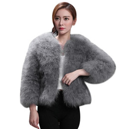 d6601d04991 Female Jacket Women Faux Fur Ostrich Feather Soft Fur Coat Jacket Fluffy  Winter Xmax Warm Fashion Solid Big Size Outwear