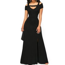 $enCountryForm.capitalKeyWord Canada - Hot Sale New Arrival Women New Cold Shoulder Front Slit Flare Maxi Dress Sexy V Neck Empire Waistline Party Long Dresses