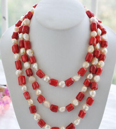 pink coral beaded necklace NZ - red cylinder coral pink baroque pearl necklace 70''
