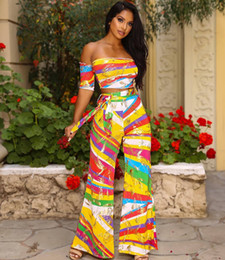Belts Piece Canada - Women's Rainbow Stripe Print 2 Piece Set Backless Crop Top and Wide Leg Pants Set with Belt Free Shipping J5016