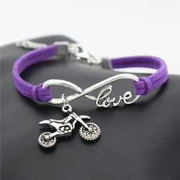 $enCountryForm.capitalKeyWord Australia - New Simple Infinity Love Motocross Flying Fast Motorcycle Dirt Bike Bracelet Handmade Purple Leather Suede Rope Women Men Lucky Jewelry Gift
