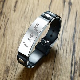 laser beads 2019 - Men's Black Silicone Bracelet with Stainless Steel ID Tag Personalized Laser Engraved Pulseira Braslet Male Jewelry Adju