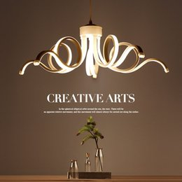 China Nordic LED Acrylic Ceiling Lamp Creative Curved Linear Chandelier Pendant Light supplier white pendant acrylic lamps suppliers