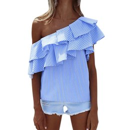 Wholesale ruffle cold shoulder blouse for sale – plus size Summer Blouses Women Tops One Shoulder Off Blouses Shirt Ruffle Striped Shirt Slash Neck Blouse cold shoulder tops Blusas