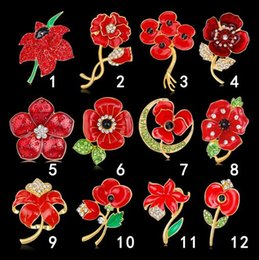 Free Shipping Enamel Charms Australia - Charm Women Poppy Flower Corsage Brooches Red Crystal Enamel Flower Brooch Pins Lapel Pin For Wedding Jewelry Gift Free Shipping