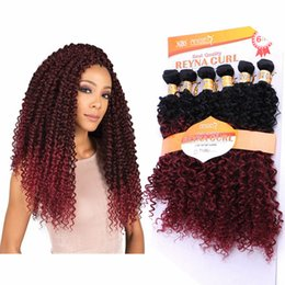 $enCountryForm.capitalKeyWord Australia - Newest No Tangle Natural Curly Hair Extensions 6bundles 300g Ombre T27 99J Red Kinky Curly Afro Double Drawn Sew In Weave Hair Renya Curls