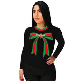 fa056cb57cd4 2019 Autumn New Fashion Bow Printed Cotton Women Tops Casual Long Sleeve O Neck  T Shirt Women Tee Shirts