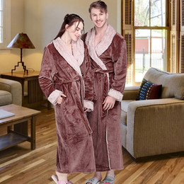 long thick robes Canada - Women Winter Extra Long Thick Flannel Bath Robe Warm Peignoir Femme Sexy Fur Dressing Gown Men Bathrobe Bridesmaid Wedding Robes