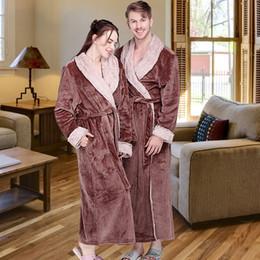 72e6b35a85 Women Winter Extra Long Thick Flannel Bath Robe Warm Peignoir Femme Sexy  Fur Dressing Gown Men Bathrobe Bridesmaid Wedding Robes