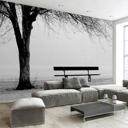 $enCountryForm.capitalKeyWord NZ - Custom 3D Photo Wallpaper Mural Black White Big Tree Bench Abstract Art Wall Painting Modern Living Room Sofa TV Backdrop Decor