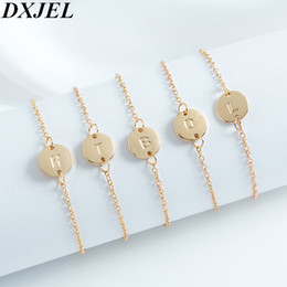 Name Plate Jewelry Sets Australia - DXJEL Fashion 26 Alfabet Initial Letter Bracelet For Women Simple Adjustable Name Bracelets Pulseras Mujer Jewelry Party Gift