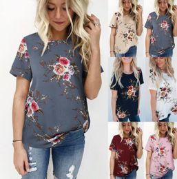 1dcf0164f23 Summer Womens Floral Print T-Shirt Short Sleeve Crew Neck Blouse Loose Tops  Comfy Casual Tops 6 Colors S-3XLEEA483 12PCS