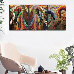large horse canvas art print NZ - Large 3 Panel HD Prints Poster Red Abstract Colorful Horse Oil Painting Home Wall Art Picture On Canvas For Living Room Decor
