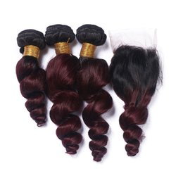 dark red wine hair color 2019 - #1B 99J Wine Red Ombre Brazilian Human Hair With Closure Loose Wave Dark Roots Burgundy Ombre Human Hair 3Bundles With 4