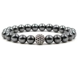 Chinese  Black Stone Hematite Bracelets 8mm Natural Stone Cubic Zirconia Round Ball Bracelets & Bangles For Women & Men Bracelets Gift manufacturers