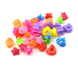 Hair Jaw Clips Wholesale Australia - 20 Pcs Lot Cartoon Shape Solid Color Mini Small Hair Clips Girls' Hair Claw Jaw Toddlers' Side Hairpin