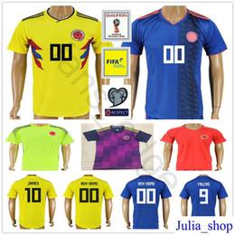 2018 National Colombia Soccer Jersey 10 JAMES 9 FALCAO 11 CUADRADO 8  AGUILAR 13 GUARIN SANCHEZ BACCA Customize Yellow Blue Football Shirt c3ee7ce6b