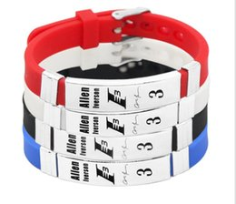 $enCountryForm.capitalKeyWord Australia - Allen Iverson Basketball Bracelet Silicone Stainless Steel adjustable Wristband
