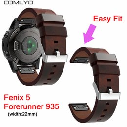 Wholesale COMLYO mm width Easy Fit Genuine Leather Strap For Garmin Fenix Forerunner Band Watch wristband bracelet Watchband