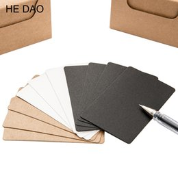 leaf note pad UK - 100 Pcs box Brief Design Black White Kraft Paper Memo Pad Notebook Business Paper Cards Word Cards Stationery Stickers