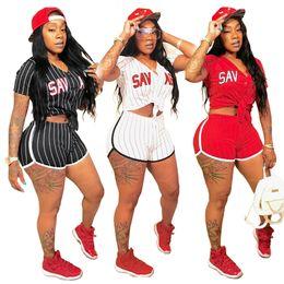 Discount club baseball - Sexy Striped Alphabet Printed Baseball Women 2 Pcs Short Summer Set Fashion Women Mini Club Sets Mini Pants Sets GL6025