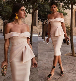Little Champagne Australia - 2018 Champagne Cocktail Dresses Evening Wear Off Shoulder Plus Size Knee Length Cheap Simple Arabic Formal Mini Party Homecoming Gowns