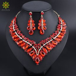 african american costumes 2019 - Fashion Indian Blue Rhinestone Wedding Jewelry Sets for Brides Bridal Necklace Earrings Set Party Costume Decoration for