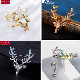 glasses trade Australia - Cross border electricity supplier European and American foreign trade natural freshwater pearl deer series Brooch Pin Christmas Gift Girl