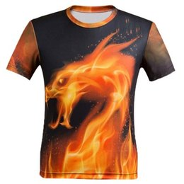 65d889f298b0 Amazon eBay pop foreign trade men s casual digital printing 3D fire dragon  short-sleeve T-shirt