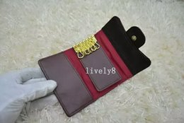 Key ring holder covers online shopping - High quality Famous brand new womens classic key holder cover with card key ring Leather Caviar Gold and Silver key