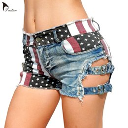 high sexy women NZ - Flag Pattern Women Sexy Shorts Jeans High Waist Booty Super Denim Cotton Hole Female Shorts Womens Summer Hotpants Club DJ Party