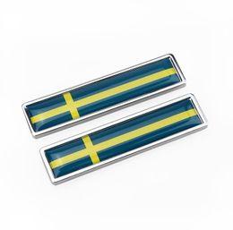 Car Styling Sides sticker Svezia Bandiera New Pair Metal Label 3D Adesivi per auto Auto Metal Emblem Bandiera svedese in Offerta