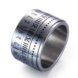 $enCountryForm.capitalKeyWord Australia - Revoing Arabic Numerals Stainless Steel Ring Rotate Camera Unique 15mm Middle Spinner Rings For Men Jewelry