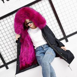 Dog Zipper Australia - 2018 Winter Women Elegant New Raccoon Dog Real Fur Parker overcoat