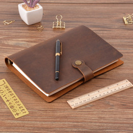 leather sketchbooks Canada - Top Fashion Genuine Leather Rings NotA5 Planner With Brass Binder Spiral Sketchbook Snap Button Personal Diary Stationery