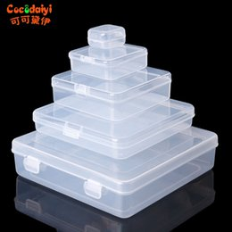 Wholesale Plastic Craft Case NZ - Square Transparent Plastic Jewelry Storage Boxes Beads Crafts Case Containers Nov