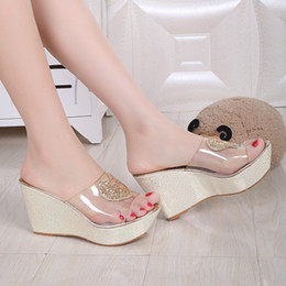 jelly shoes for Canada - Summer Wedge Sandals Slip On Shining Heart High Heel Sandal Shoes for Women Jelly Glitter Heart Design High Heels Sandal Wedges